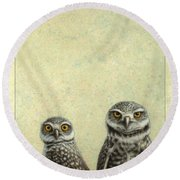 Burrowing Owls Round Beach Towel by James W Johnson