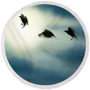 Burst Of Crows Round Beach Towel