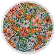 Burst Of Flowers Round Beach Towel