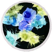 Bursting Comets 2017 - Blue And Green On Black Round Beach Towel