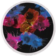 Bursting Comets 2017 - Blue And Pink On Black Round Beach Towel