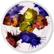 Bursting Comets 2017 - Yellow And Purple On White Round Beach Towel