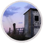 Bus Shelter At Dusk Round Beach Towel