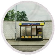 Bus Stop In Poland Round Beach Towel