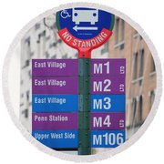 Bus Stop Sign In New York City Round Beach Towel