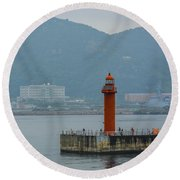 Busan Lighthouse Round Beach Towel