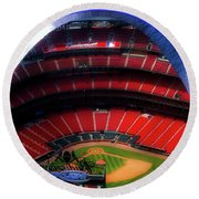 Busch Stadium A Zoomed View From The Arch Merged Image Round Beach Towel