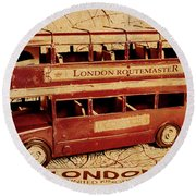 Buses Of Vintage England Round Beach Towel