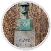 Bush Behind Piotr Wysocki Bust Round Beach Towel