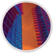 Business Travel, Architectural Abstract Round Beach Towel