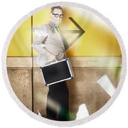 Businessman Walking In Direction Of Road Arrow Round Beach Towel