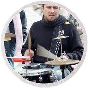 Busking Drummer Round Beach Towel