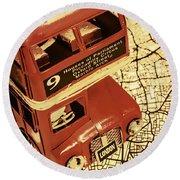 Bussing Britain Round Beach Towel