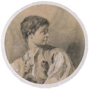 Bust Of A Boy In Profile Holding A Sword Round Beach Towel