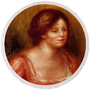 Bust Of A Woman In A Red Blouse Round Beach Towel