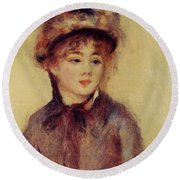 Bust Of A Woman Wearing A Hat 1881 Round Beach Towel