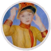 Bust Of A Woman Yellow Dress Round Beach Towel