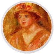 Bust Of A Young Girl In A Straw Hat 1917 Round Beach Towel