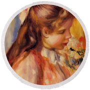 Bust Of A Young Girl Round Beach Towel