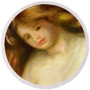 Bust Of A Young Nude 1903 Round Beach Towel