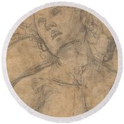 Bust Of A Youth Looking Upward [recto] Round Beach Towel