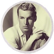 Buster Crabbe, Vintage Actor Round Beach Towel