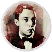 Buster Keaton, Legend Round Beach Towel