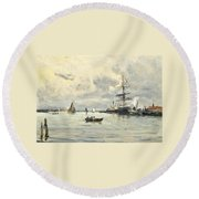 Bustling Activity In A Normandy Port Round Beach Towel