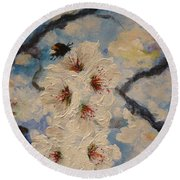 Busy Bumble Bee And Blossom.  Round Beach Towel