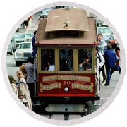 Busy Day On The California Street Cable Car Incline Round Beach Towel