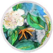 Busy Gardenias Round Beach Towel