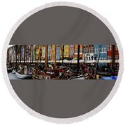 Busy Nyhavn Round Beach Towel