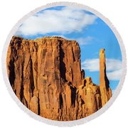 Butte And Clouds Round Beach Towel