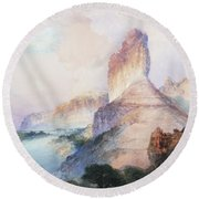 Butte Green River Wyoming Round Beach Towel by Thomas Moran