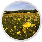 Buttercup Field Round Beach Towel