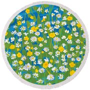 Buttercups And Daisies Round Beach Towel