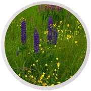 Buttercups And Lupines Round Beach Towel