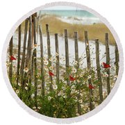 Butterflies By The Seashore Round Beach Towel