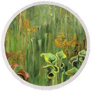 Butterflies In The Bog Round Beach Towel