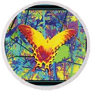 Butterfly All Aglow Round Beach Towel