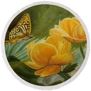 Butterfly Among Yellow Flowers Round Beach Towel