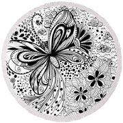 Butterfly And Flowers, Doodles Round Beach Towel