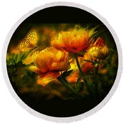 Butterfly And Flowers Round Beach Towel