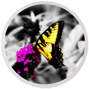 Butterfly And Lilac Round Beach Towel
