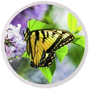 Butterfly And Lilacs Round Beach Towel