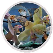 Butterfly And Orhid Round Beach Towel