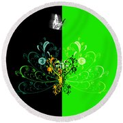 Butterfly And Ornament Round Beach Towel