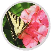 Butterfly And The Geranium Round Beach Towel