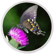 Butterfly And Thistle Round Beach Towel