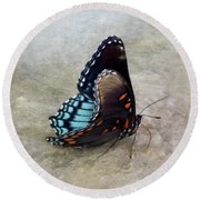 Butterfly Blue On Groovy 2 Round Beach Towel